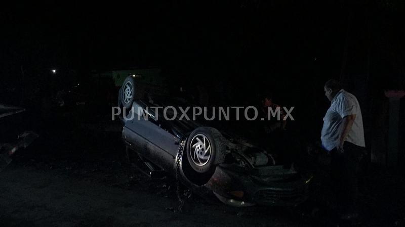VOLCADURA EN GENERAL TERÁN, CHÓFER RESULTA LESIONADO.
